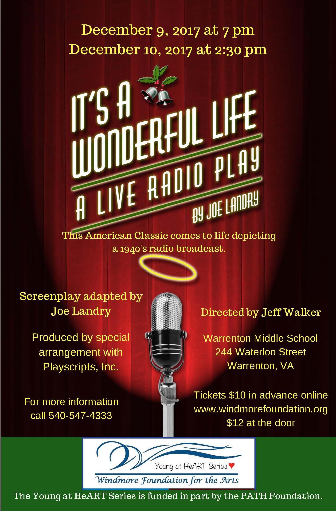 """It's a Wonderful Life - A Live Radio Play"" Saturday December 9, 2017 at 7 pm @ Warrenton Middle School   Warrenton   Virginia   United States"