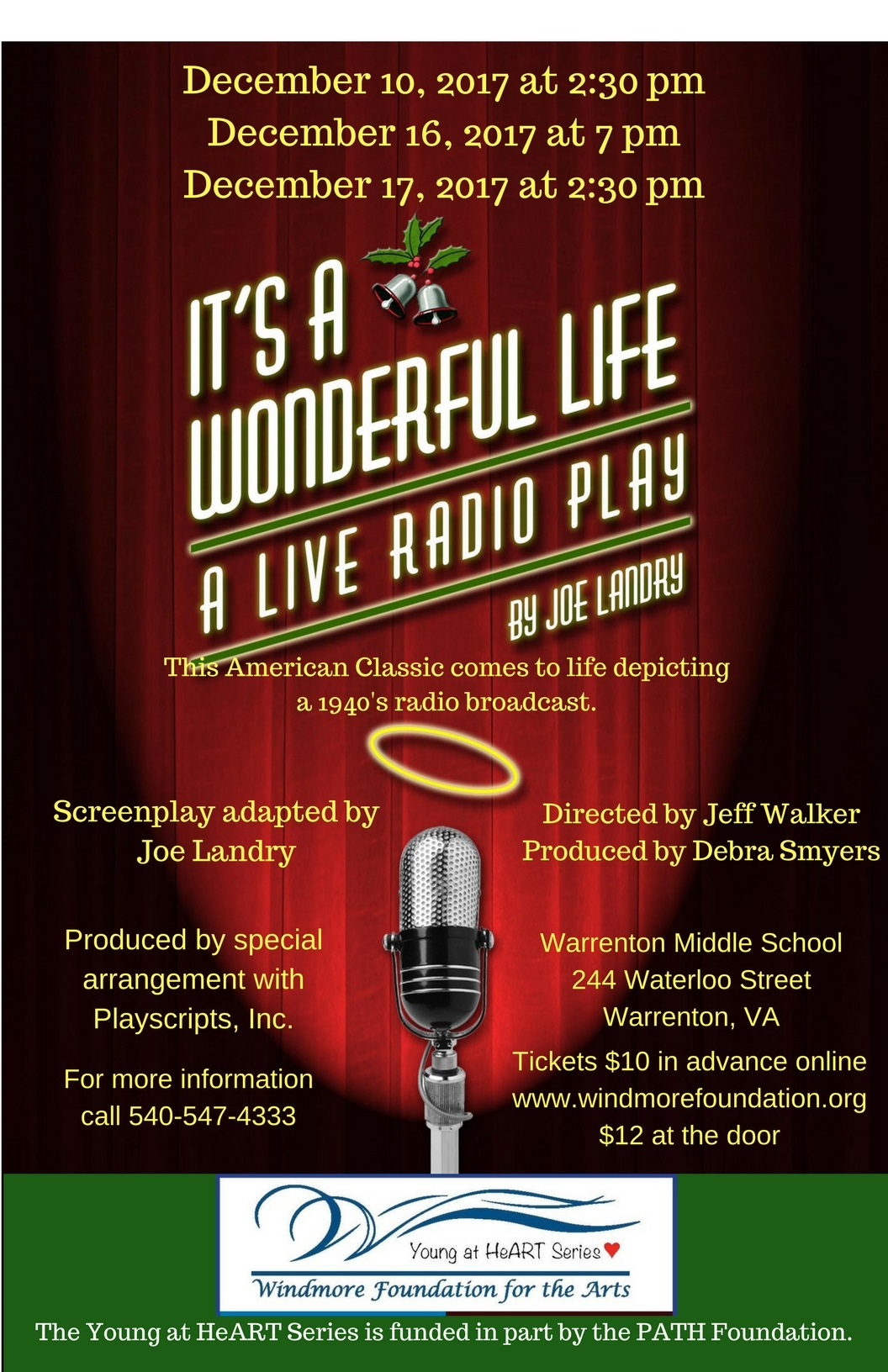 """It's a Wonderful Life - A Live Radio Play"" Saturday December 17, 2017 at 2:30 pm"